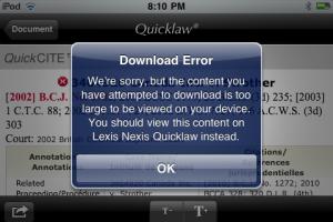 LexisNexis Canada Qucklaw iPhone App Error Message