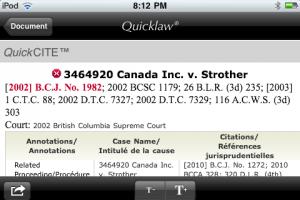 LexisNexis Canada Quicklaw iPhone App Quickcite Results
