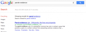 Google Fixes Parole Evidence to Parol Evidence