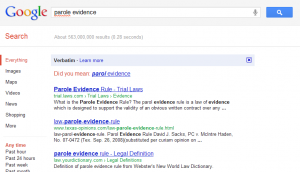 A misspelled Google search on parole evidence using verbatim search