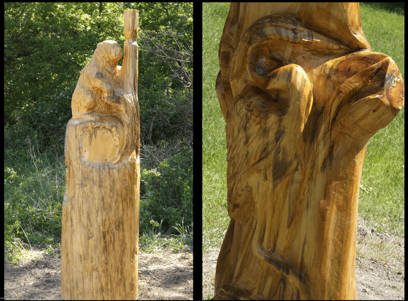 wood-carving-mile-kilometer-markers-tom-taylor-trail-beaver-heron