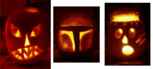The pumpkins we carved in 2011: Boba Fett helmet, lobotomy, and traditional