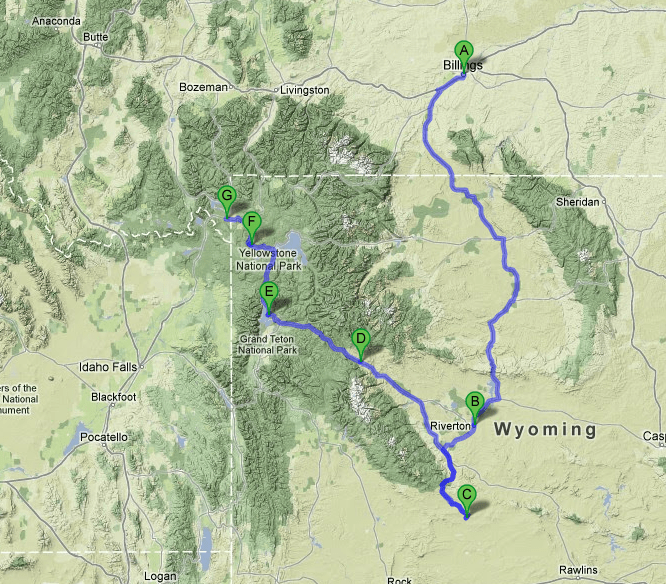 We started in Billings and drove first to Riverton (Day 1), then down to the Red Desert (Day 2) and to West Yellowstone (Day 3).