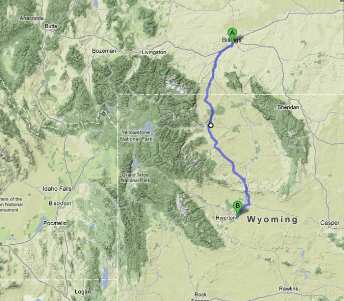 Day 1:  Driving south to Riverton, Wyoming, from Billings, Montana