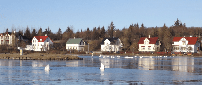 A view of Tjarnagata, the street running up the west side of Tjornin Lake