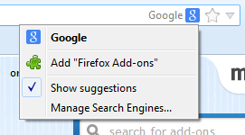 Firefox Omnibar search engine listing.  Click on the search engine to see this menu and choose Manage Search Engines... to edit the list.