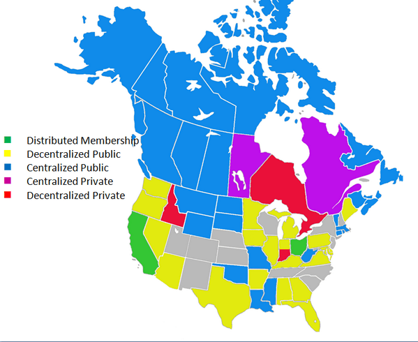 A map of North America showing where publicly accessible courthouse law libraries are enabled or available.  Where I wasn't sure, I did not color in the state.