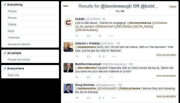 A search that returns both tweets 2015 Bencher candidates sent and those that mentioned them.