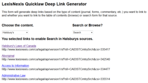 LexisNexis Quicklaw deep link generator.  THIS MAY NOT WORK WITH LEXISNEXIS ADVANCE so caveat emptor.