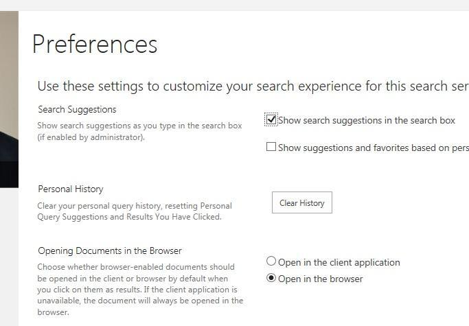 Search preferences are located at the bottom of your site search results page.  Click to access your preferences, where you can set a different option for opening documents when you click on a result link.