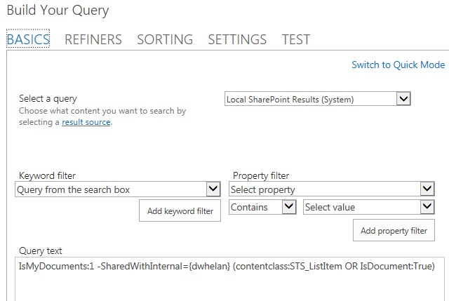 Using a Search Results Web Part in SharePoint 2013 on premises to mimic a SharedWithMe page.