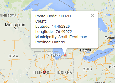 This data point should be in south eastern Ontario, not Chicago, Illinois.