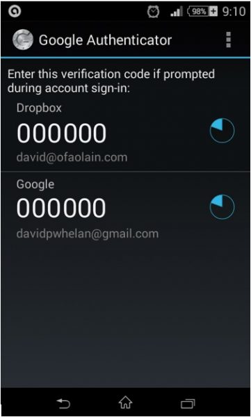 Google Authenticator app on an Android phone. You can have multiple accounts, but you need to type in the appropriate number before the blue timer turns black.