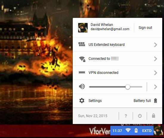 The settings menu and power, network information in Chromium OS