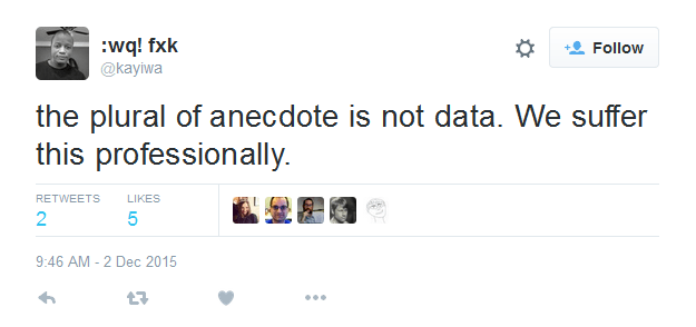 The plural of anecdote is not data.
