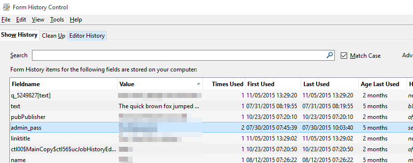 """A form box called """"admin_pass"""" accepted my password as normal form data.  This is how it appears in Form History Control"""